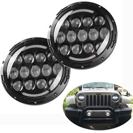 Wholesale Led Rings For Headlights - 2 X 7 inch 105W LED Headlight Projector with Halo Angel Eye Ring & DRL & Yellow Turn Signal Lights for JEEP JK Wrangler Headlamp