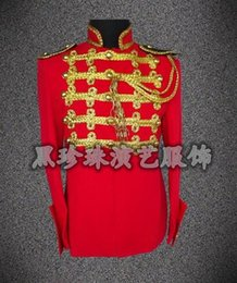 Wholesale Tassel Short Costumes - Red fashion men suits designs masculino homme terno stage costumes for singers men blazer dance clothes jacket style dress rock
