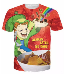 Wholesale Psychedelic Shirt Men - Newest Fashion Womens mens psychedelic Lucky Dabs Summer Style Funny 3D Print Casual T-shirt LMS000287