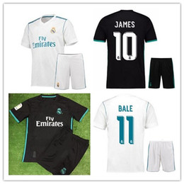 Wholesale Men S Stockings - In stock 2017 2018 Real madrid Men Set soccer Jerseys 17 18 RONALDO home white away black kits RAMOS ISCO football shirt with Free shipping