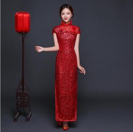 Wholesale Chinese Women Traditional Wedding Dress - China Dress Traditional Red Sequined Bride Wedding Cheongsam Long Qipao Vestido Oriental Dresses Chinese Evening Gowns