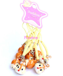 Wholesale Head Phones Charms - Free Shipping 50 pcs Cute Squirrel head Pendant Cell Phone Charm Straps with Bell Cartoon For Gift Brown+Yellow 2 Color