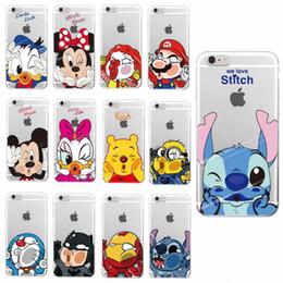 Wholesale Batman Iphone 5c Case - Cartoon Minnie Mickey Pooh Batman Iron man Super Mario Soft Case For iPhone 7 6 6S Plus 5S 5C 4S Case