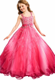 Wholesale Dresses 12 Years Old Girls - Glitz Peac Little Girl Pageant Dress First Communion Gown Infant Dress Baby Long Beading Dresses Child Prom Gown 0-12 Year Old