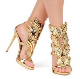 Wholesale Golden Party Shoes - Hot Sale Golden Metal Wings Leaf Strappy Dress Sandal Silver Gold Red Gladiator High Heels Shoes Women Metallic Winged Sandals
