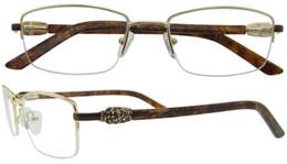 Wholesale Unique Fashion Bag - Unique Design Metal Half Rim Spectacles Women Eyeglass Frames Prescription Glasses For Myopia and Reading Lenses B05131