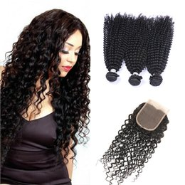 Wholesale Curl Hair Blonde - 8A malaysian curly hair with closure jerry curl 3pcs human hair bundles with lace closures malaysian kinky curly weave hair with closure