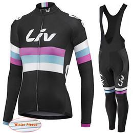 Wholesale Thermal Set Women - LIV 2017 New Women Winter thermal fleece Cycling Jersey bike clothing long sleeves cycling shirts+ mtb bicycle Bib Pants set D1113