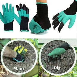 Wholesale Garden Manual - Garden gloves for Dig Planting Rubber Polyester Builders Garden Work ABS Plastic Claws Safety Working Protective Gloves b838