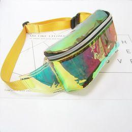 Wholesale Yellow Jelly Bags - 3pcs 2017 Women PVC Jelly color Clear Fanny Waist bag chest pack sparkle festival hologram Beach bag 10 inch