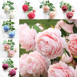 Wholesale Peony Gifts - 2017 Artificial Flowers Roses Peony Three Flower Heads Garden Wedding Party Decoration Simulation Fake Flower Head Christmas Gift WX9-70