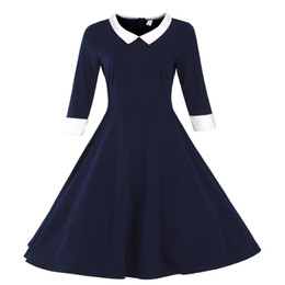 Wholesale Stitch Dolls - Women's Girl's Doll Collar 3 4 Sleeve Cuff stitching Flare Party Dress Blue Red Wine