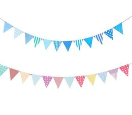 Wholesale Pink Paper Garland - Wholesale-1Set blue  pink Paper Board Bunting Pennant Flags banner garland for baby shower birthday party decoration kids room decoration