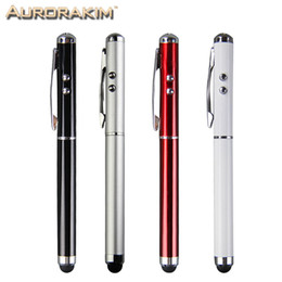 Wholesale Iphone Torch - Wholesale- 4 in 1 multifunction stylus pen touch pen ball pen with laser light mini torch for touch screen mobiles tablet pc and iphone