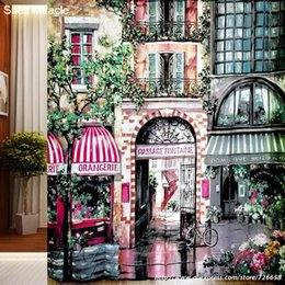 Wholesale Cafe Paris - Wholesale- 2016 new ! Romantic Paris Cafe polyester high-definition printing waterproof mildew shower curtain