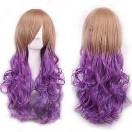 Wholesale Brown Wavy Wig Cosplay - Hot Sale Perucas Lolita Long Wavy Anime Brown Blonde Pink Red Cosplay Wig Kanekalon Fibre Synthetic Hair Women Party Peruca Wig Cosplay wome