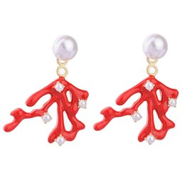 Wholesale Coral Drop Earrings - Asymmetric Red Coral Drop Earrings Best Selling White Pearl Branches Detachable Statement Dangler Earrings For Party Accessory