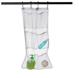 Wholesale Shower Hanging - New 6 Pocket Bathroom Tub Shower Bath Hanging Mesh Organizer Caddy Storage Bag Hook Multi Function Bags Hot Sell 6 8qy J R