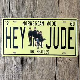 Plaques de voiture d'étain en Ligne-Hey Jude Norwegian Wood The Beatles vintage embossed metal tin signs garage car plate licence number plate painting plaque picture 15x30cm
