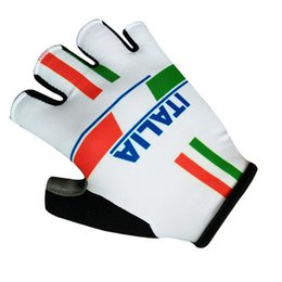Wholesale Italia Cycling - Hot Sale 2017 ITALIA PRO TEAM RED Cycling Bike Gloves Bicycle Gel Shockproof Sports Half Finger Glove