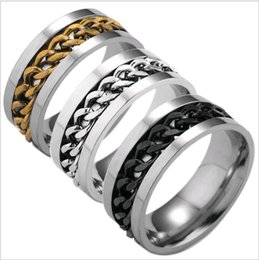 Wholesale Wholesale Titanium Mens Rings - Factory Directly Titanium Steel Mens Ring Mix size 6-12 Gold Silver Black Link Chain Finger Band Rings