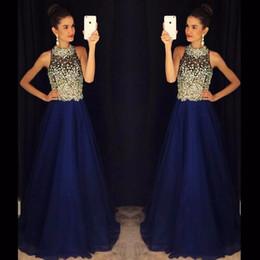 Robe de soirée longue en mousseline de soie bleu royal en Ligne-Une ligne robes de bal bleu royal cristaux de perles col haut en mousseline de soie longues robes de soirée robes de bal