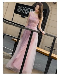 Wholesale Cheap Cotton Maternity Dresses - 2017 Cheap Lace Embroidery Long Prom Dresses Rose Pink Sheer Back Pearls Formal Evening Party Dresses lONG Vestido De Festa ballkleider