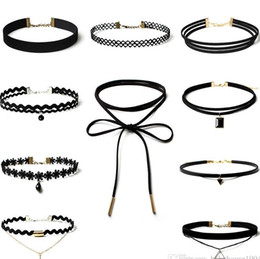 Wholesale Womens Stainless Steel Heart Necklace - 6-10PCS Girls jewelry Womens Black Charm Choker Set for Girls Lace Choker Tattoo Necklace Choker Necklaces