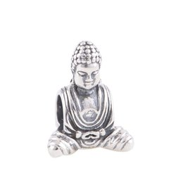 Wholesale Silver Buddha 925 - Wholesale-New 925 Sterling Silver Bead Buddha Religion Charm DIY Jewelry Making Fits European Brand Snake Chain Charms Bracelet