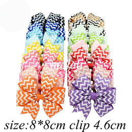 Wholesale Chevron Hair Bows Wholesale - 4Inch Girls Zigzag Chevron Ribbon Hair Bows Clips Hairpin Baby Butterfly Striped Barrettes Hairgrip Headware Kids Hair Accessories 20colors