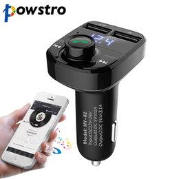 Wholesale Wholesale Watches Radio - Wholesale- powstro Car Kit Bluetooth MP3 Player Hands-free Call Wireless FM Transmitter Modulator with 5V 4.1A Dual USB TF Slot Voltage