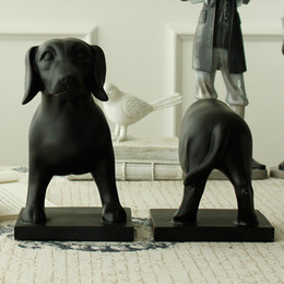 Wholesale Usa Ornament - Home Furnishing Architect   New USA retro style black resin dachshund Bookends ornaments