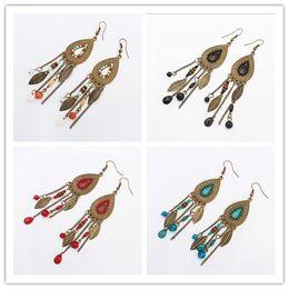 Wholesale European Stud Earrings - Retro Bohemian Oval Leaf Mulit 4 Colors Tassel Earrings European USA Fashion Wholesale Beads Earrings Free Shipping