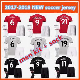 Wholesale Drying Kits - men kit 2017 POGBA LUKAKU Utd Soccer Jerseys 17 18 United home away 3RD Rooney Rashford MATA Mkhitaryan football shirt