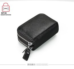 Wholesale Small Purse Double Zipper - Double Zipper Women men Credit Card Holder Genuine Leather men Wallet small Business Card bag Cow Leather wallet cowhide purse
