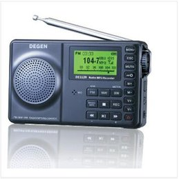 Wholesale Degen Sw Radio - Wholesale-DEGEN DE1129 DE-1129 FM-Stereo AM SW DSP ATS 4GB MP3 Player Digital Recorder Portable Intelligent Multifunctional LED Radio