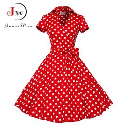 Wholesale Rockabilly Shorts - 2017 Audrey Hepburn Summer Dress Women Polka Dot Vintage Swing Robe Rockabilly Housewife Retro 50s Pinup Dresses Vestidos WQ0979