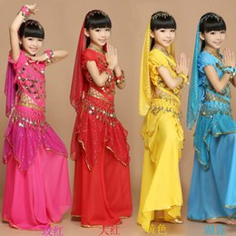 Wholesale kids indian dance costumes - Q228 New Handmade Children Belly Dance Costumes Kids Belly Dancing Girls Indian Stage Performance Clothing Suits