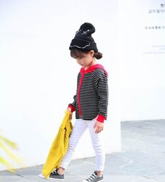 Wholesale Baby Girl Striped Sweaters - 2017 Autumn New Baby Girl Knitting sweater stripe Hooded long sleeve pullover Children Clothes 30541