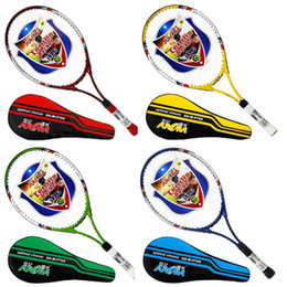 Wholesale Strings Tennis Racket - Wholesale- Hot 4 Color Ultralight Carbon Aluminum Tennis Racket Adult Student Training Racket with String Free Racket Bag Grip Size: 4 1 4