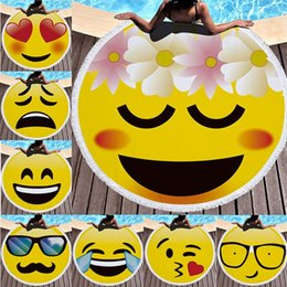 Wholesale Disposable Mats - 14 styles Microfiber Round Large Beach Blanket Emoji Beach Towel Shawl Yoga Mat with Tassel Swimming 150*150cm IB407
