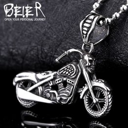 Wholesale Wholesale Motorcycle Pendants - Wholesale- Beier new store 316L Stainless Steel Pendant Necklace Motorcycle men exquisite biker pendant personality Jewelry BP8-130