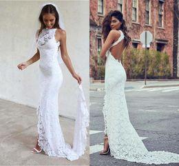 Wholesale Cheap Mermaid Maxi Dress - White Backless Mermaid Wedding Dresses 2017 Vestido De Noiva Lace Garden Summer Long Cheap Split Boho Maxi Bridal Gowns for Girls