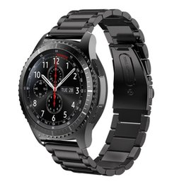 Wholesale Metal Strap Watches - 22mm Stainless Steel Metal Replacement Strap Wrist Band for Samsung Gear S3 Frontier   Gear S3 Classic Smart watch Black