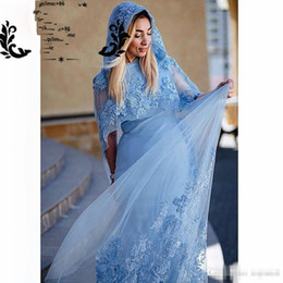 Wholesale Elegant Muslim Dust Blue Evening Dresses Lace Appliques with Beads Mermaid Women Formal Turkish Bridal Gowns With Hat Custom Made