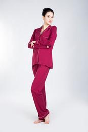 Wholesale Ladies Nightgowns - Red Women Pajama Sets Lady Pajamas Nightgowns Robe Women's Nightgown Long Sleeve Sleepwear 100% Lenzing Modal