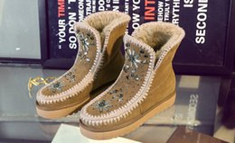 Wholesale diamond heel boots - Christmas gift 2018 Leather Cowhide Snow Boots Women' s Cylinders Short Sleeves Diamond Shoes Couples Cotton Buckle Couples Warm Shoes Boots