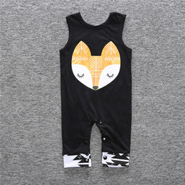 Wholesale toddler animal onesies - Baby Summer Rompers Infant Toddlers Fox Head Print Onesies Jumpsuit Baby Boys Girls Sleeveless Climb Rompers
