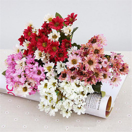 """Wholesale China Fake Flowers - Fake Autumn Chrysanthemum Bunch (5 stems piece) 28cm 11"""" Length Artificial Flowers China Aster for Home Showcase Party Display Flower"""