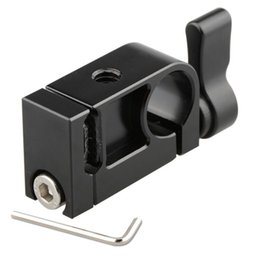 Wholesale camcorder cables - CAMVATE 15mm Rod Clamp with Cable Clip (Black Red Ratchet Knob)